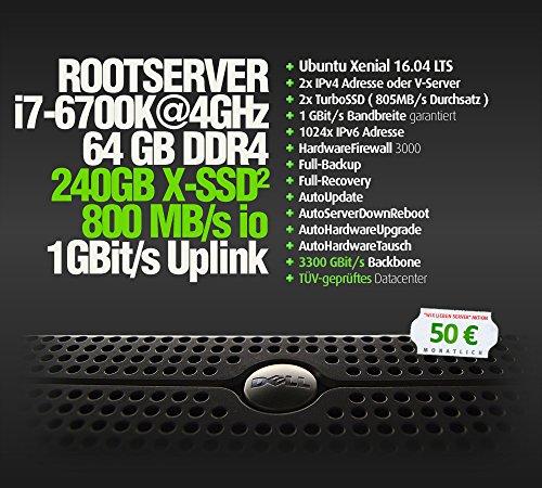 RootServer, Intel®CoreTM i7-6700K, 240GB SSD 800MB/s io, 64GB DDR4, 1GBit Uplink, AutoReboot, AutoFirewall, SSH2, 2 IPs