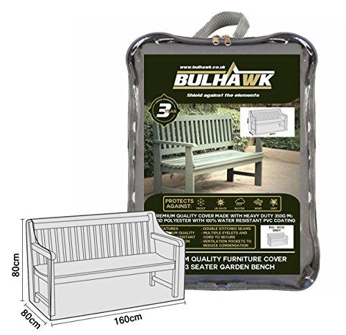 Bulhawk® Housse de Protection pour Banc pour Banc 2 Places et 3 Places Banc, Protection supérieure, très résistant de qualité Premium, 100% étanche - Marron ou Gris 3 Seater Bench (Grey)
