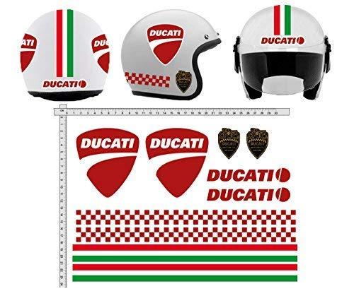 GamesMonkey Adesivi Casco Kit Ducati Strisce Italia Helmet Vinile Lucido Assortiti in V