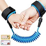 Lictin Anti-Lost Wrist Flexible Child Walking Strap Adjustable Child Safety Strap Anti Lost Wrist Walking Hand Belt Walking Strap Lost Wrist Link Rotatable Connector 2 Embroidery Name Stickers(Blue)