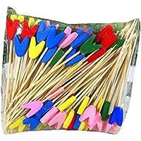 [tulip] 200 piezas desechables Cocktail Picks fuentes del partido, fruta / pastel, 10 cm