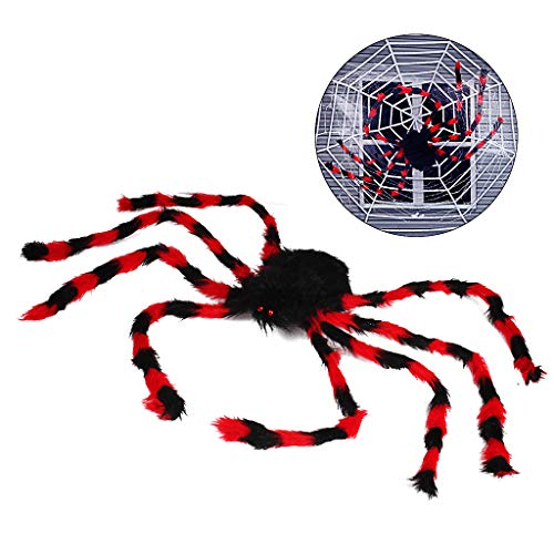 50 Zoll Riesenspinne, Halloween Haarige Spinne Scary Gefälschte Große Spinne für Outdoor Decor Yard Dekorationen Scary Plüsch Spinne Requisiten (50 Zoll schwarz-rot Spider)
