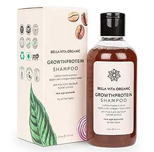 Bella Vita Organic Growth Protein Shampoo For Hair Volume, Fall, Dandruff, Frizz Control, Shine & Strength - 225ml