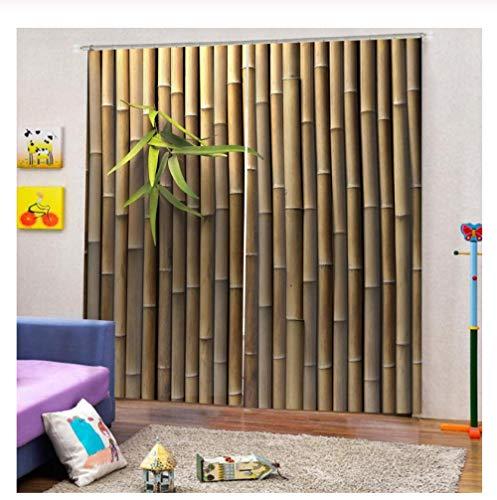 WKJHDFGB Fenstervorhang Anpassen Startseite 3D Vorhänge Wohnzimmer Schlafzimmer Bambus Stereoscopic Printed Fenstervorhänge 215X200Cm (Anpassen Startseite)