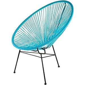 Fauteuil Acapulco Bleu turquoise Acier et cordage plastique Intérieur et extérieur La chaise longue 32-M1-022T