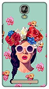 Crazy Beta Beautiful 3D Cartoon girl with rose flowers and goggles Printed mobile back cover case for Gionee Marathon M5 Plus