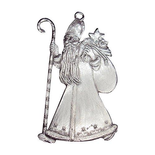 Zinngeschenke Hl. Nikolaus beidseitig von Hand patiniert aus Zinn (HxB) 7,0 x 4,0 cm, Christbaumschmuck