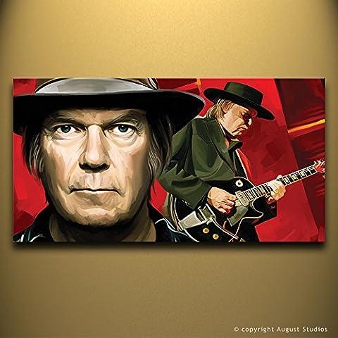 Neil Young originale Artista firmato pittura poster Stampa Su Tela # 1, Tela, 30