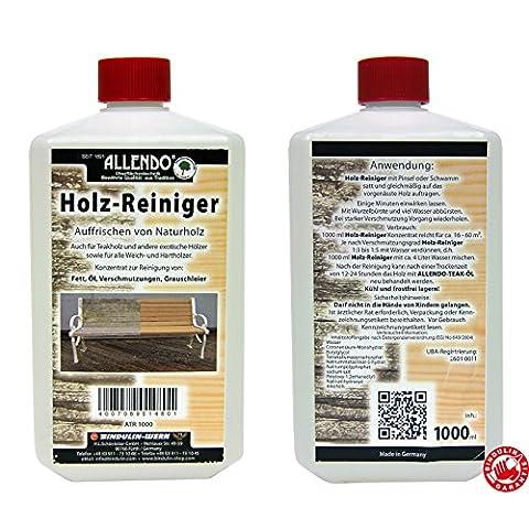 Holzentgrauer Allendo 1 Liter - Entgrauungsmittel Holzreiniger für verwittertes Holz,
