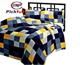 PICKFULLY Checked Design Microfiber Double Bed Reversible Quilt/AC Blanket/Dohar, Multi-Coloured