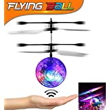U-MISS Crystal Flashing LED Light RC Infrared Induction Helicopter, Teenagers Colorful Flying Ball for Kid's Toy, Black