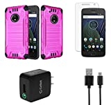 Moto G5 Plus - Accessory Bundle with Dual Layer [Brushed Metal Texture] Hybrid Case - [Hot Pink], Atom LED, Glass Screen Protector, 18W [Qualcomm Quick Charge 2.0] Wall Charger, Micro USB Cable