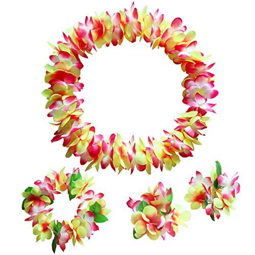 Fortuning's JDS Hawaiian Ginger Gelb Rot Leis Halsketten Armbänder Stirnband Gastgeschenke(4Pcs) -