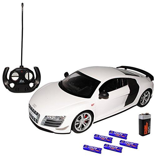 A-U-D-I R8 GT Weiss Coupe 2010 - Komplettset mit Batterien - RC Funkauto - mit Beleuchtung - sofort startklar - 1/14 Modellcarsonline Modell Auto mit individiuellem Wunschkennzeichen