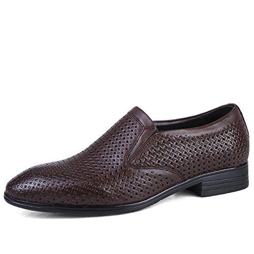 ailishabroy Plain Herren Derby Schlüpfen Atmungsaktiv Schuhe Herren Sommer Schwarz Business Mokassins (49 EU, Dunkelbraun)
