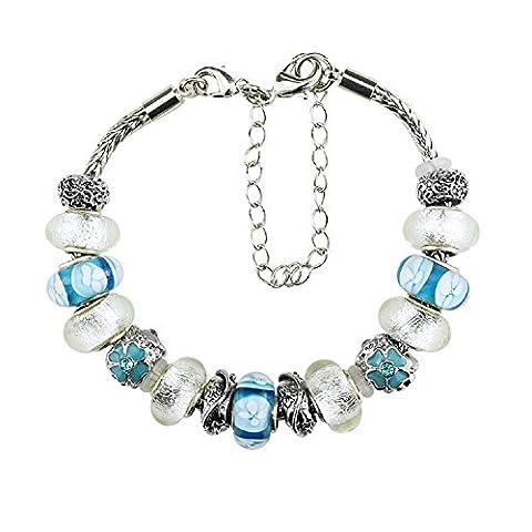 White Birch Charm Bracelet with Charm for Pandora Bracelet for Women Blue Glass Silver Tone