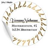 5x24 elegante, personalisierbare Adress-Aufkleber, MATTE Papier Sticker mit ihrer Adresse Text nach Wunsch für Geschenke, universal Etiketten für Tischdeko, Pakete, Briefe (ø 45mm; 24 x 1 Motiv)