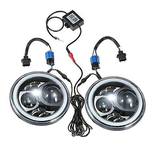 ronben Paar 17,8cm RGB LED Scheinwerfer rund DRL Scheinwerfer RGB Angel Eye Halo Ring Bluetooth gesteuert für Jeep Wrangler LJ CJ JK