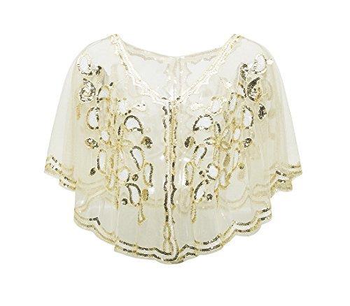 Metme 1920er Jahre Schal Damen Umschlagtücher Stola für Abendkleid Pailletten Perlen Art Deco Wraps Cape Gatsby Kostüm Accessoires ()