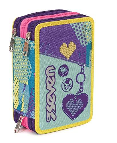 Estuche Escolar 3 Pisos – Seven – Lovely – Multi Compartimentos con lápiz, rotuladores, boligrafos… Violeta Azul