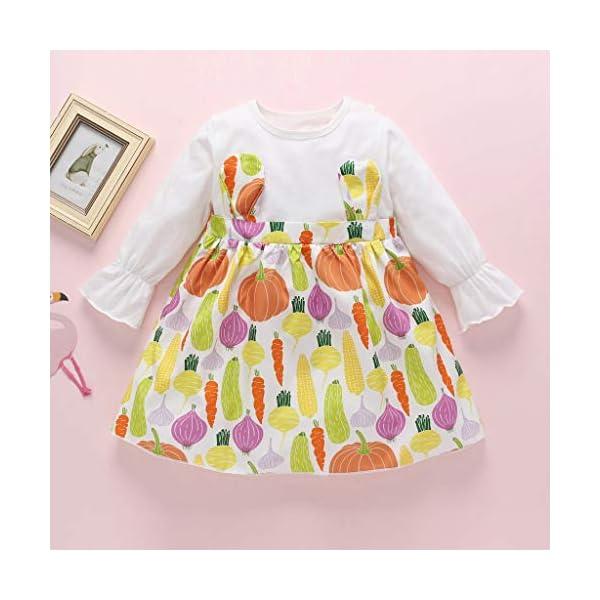 Heetey - Conjunto de Ropa y Abrigo para niña, de Manga Larga, con Estampado de Frutas, Vestido de Princesa, de una Pieza… 2