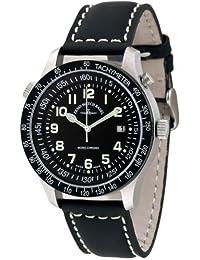 Zeno Watch Basel 3851-a1 - Reloj cronógrafo manual para hombre con correa de piel, color negro
