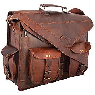 LEATHER ART & CRAFT ABB 18 Inch Vintage Handmade Leather Messenger Bag for Laptop Briefcase Satchel Bag
