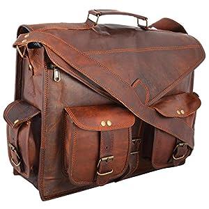 Bolso con bandolera hecho a mano para ordenador portátil, diseño vintage, de cuero