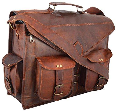 Handmadecraft Fertigkeit 18 Zoll Jahrgang Handgefertigte Ledertragetasche für Laptoptasche Umhängetasche (Leder Ranzen)
