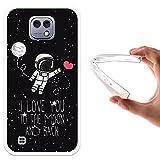 WoowCase LG X Cam Hülle, Handyhülle Silikon für [ LG X Cam ] Astronaut Herz - I Love to The Moon and Back Handytasche Handy Cover Case Schutzhülle Flexible TPU - Transparent