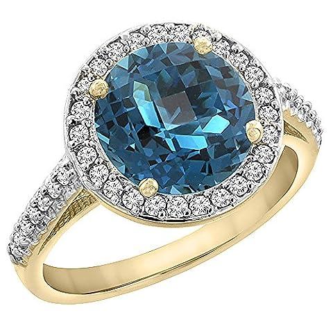 Revoni or jaune 585 or jaune 585/1000 (14 cts) Rond brillant Rond G-H Bleu Topaze bleu de Londres Diamant FINERING