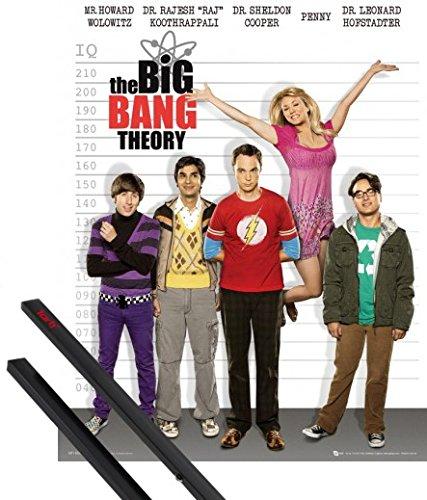 1art1® Poster + Suspension : The Big Bang Theory Mini Poster (50x40 cm) Taille QI Et Kit De Fixation Noir