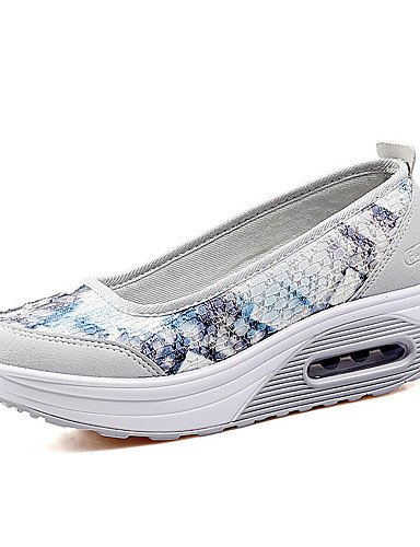 ZQ Scarpe Donna-Mocassini-Tempo libero / Casual / Sportivo-Zeppe-Plateau-Pizzo / PU (Poliuretano)-Blu / Viola / Grigio , gray-us7.5 / eu38 / uk5.5 / cn38 , gray-us7.5 / eu38 / uk5.5 / cn38 purple-us8 / eu39 / uk6 / cn39