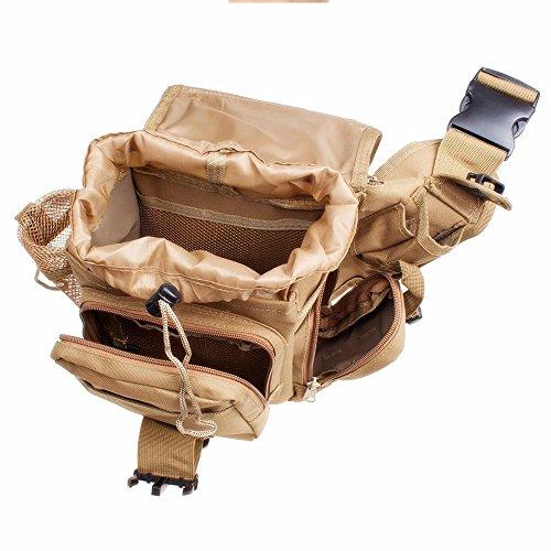 zooron verstellbar langlebigem 600D Nylon Tactical Schultergurt Sattel Tasche Military Push Pack Gürteltasche Travel Rucksack Kamera Geld Utility Tasche Taille Bum Rucksack Wandern Camping Klettern To Khaki