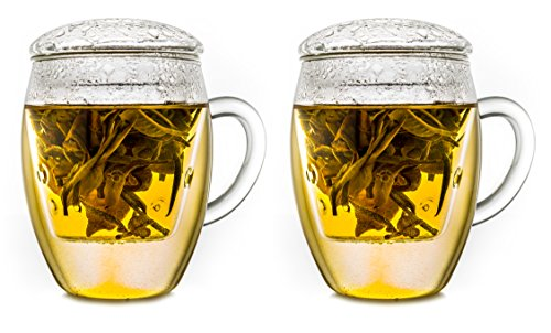 Creano tout en un » Inscription Latte Macchiato tea-glass intégré avec filtre en verre et couvercle en verre, Verre, Transparent, 400 ml, Lot de 2