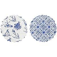 Talking Tables - Piattini in carta, effetto porcellana, colore: blu