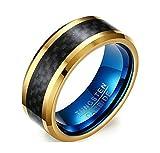 Jiedeng Schmuck Unisex Ringe aus Wolframcarbid Ring mit Einfacher Stil Partnerringe Verlobungsringe Ehering Trauringe für Damen-Ring, Herren-Ring Schwarz Gold Größe 62 (19.7)