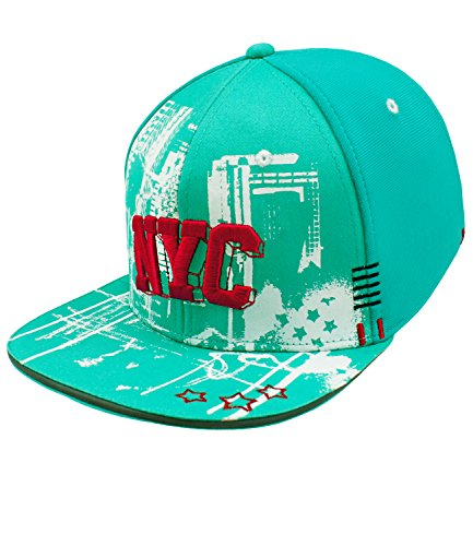 Maximo Mädchensnapback Snapback Cap Flat Visor Basecap Schirmmütze Schildmütze New York City für Kinder (MX-73503-797800-S17-MA1-0020-51) in Leuchtaqua, Größe 51 inkl. EveryKid-Fashionguide (Hip-hop-holzkohle)