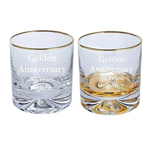 Dartington Golden Anniversary Paire Dimple Old Fashioned Verres à Whisky avec bord doré - 50 ans Ensemble