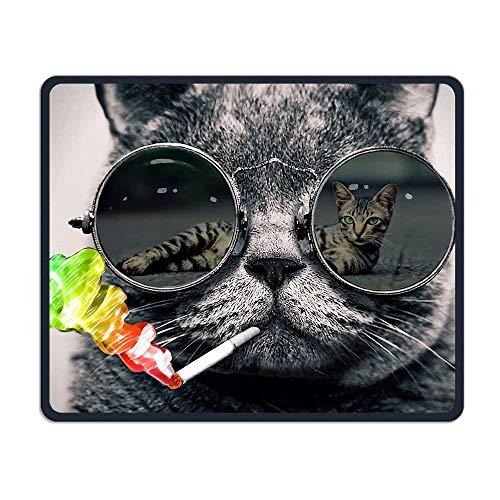Funny Cool Smoking Sunglasses Cat Comfortable Rectangle Rubber Base Mousepad Gaming Mouse Pad