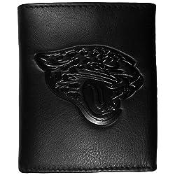 Siskiyou Sport Jacksonville Jaguars geprägtes Leder Geldbörse, Unisex, FLET175, Schwarz, Tri-fold