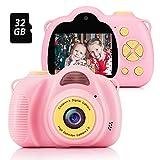 Fede Kinder Kamera mit 32GB TF-Karte, wiederaufladbare Selfie Kamera für Kinder, Kinder Digital-Camcorder mit 2,0 Zoll Bildschirm, HD 8MP/1080P Doppellinse, stoßfeste Kamera mit Silikonhülle(Rosa)