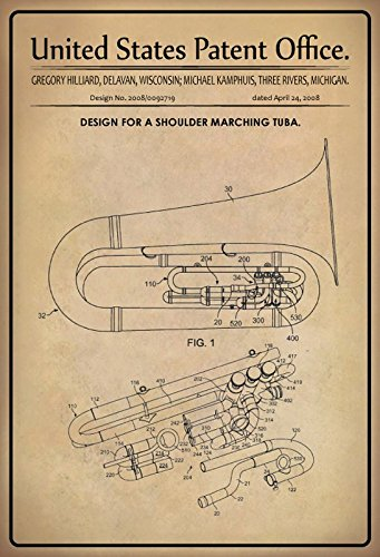 United States Patent Office - Design for a Shoulder Marching Tuba - Entwurf für einen Tuba - Hilliarad, Kamphuis - 2008 - Design No 2008/0092719 - metal sign blech projekt deko schild