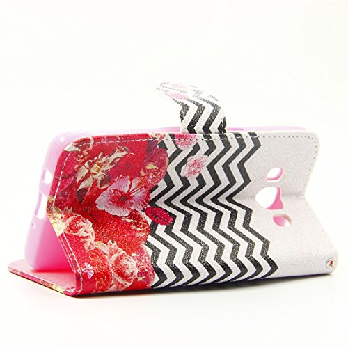 Cuitan Premium Qualité PU Cuir Flip Case Housse pour Apple iPhone 6 / 6S (4.7 Inch), Slots de Cartes et Supporter Fonction Désign Protecteur Etui Case Coque Case Cover Housse Shell pour iPhone 6 / 6S  Wave Red Flower