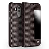 qichenlu [Smart Sichtfenster] Braun&Kariert Mate 10 Pro Echtleder Klappülle,Zert. Echtes Leder Hülle Handytasche mit Weckfunktion,Business View Cover Book Case für Huawei Mate 10 Pro