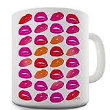 Trenzado Envy rosa y naranja labios taza de cerámica de la novedad regalo