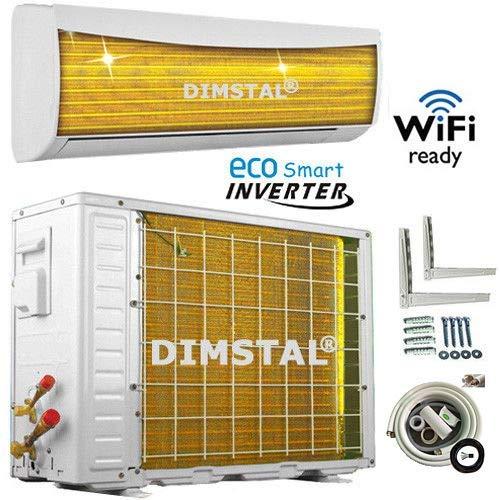A++/A++ ECO Smart INVERTER WiFi/WLAN-Ready 9000 BTU Split Klimaanlage mit Wärmepumpe Klimagerät mit Heizfunktion komplett Set inkl. 3m Kupferleitungen (2,6 kW)