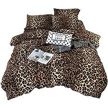 YGMDSL Ropa de Cama Conjunto de 4 Piezas Franela Estampado de Leopardo Espesar Mantener Caliente Apto