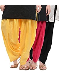 Crafts 100% Pure Solid Cotton Semi Patiala Salwar Bottoms Indoor Outdoor For Women's & Girls( Color Yellow / Pink... - B0764CXSP2