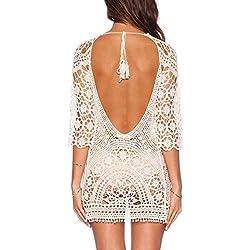Minetom Mujeres Vestidos Escotado por Detrás Encaje Crochet Bikini Cubrir Cover Up Playa Vestido Pareos Traje de Baño Blanco Tamaño: ES 34-38